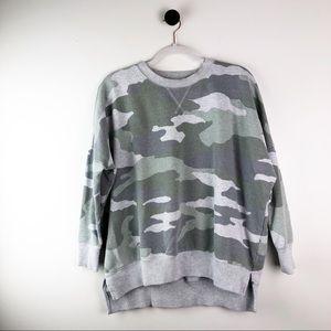 Aerie Camo Crewneck Sweatshirt Green Grey Sz Small